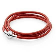 Pulseira Pandora Cabedal Vermelho Roliço 590714CRD-T2