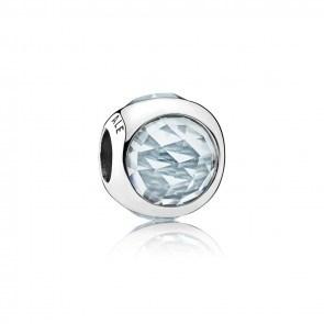 Encaixe Pandora Zirconia Aquamarine Droplet Achatada 792095NAB