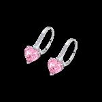 Brincos Lotus Swarovsky Coração Rosa Garras ?F.Atrás LP2004-4/4