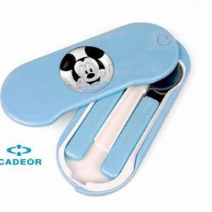 Estojo PVD Talher (colher e garfo criança ) Mickey Aplicação Redonda Esmalte Azu