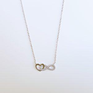 Colar Pedras Brancas Coração Polido Encaixado Símbolo Infinito Garras Corrente 1