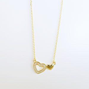 Colar Dourado P.Br Coração Aberto Encaste 1 Bojudo Lado Corrente 19CLZ0676D