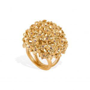 Anel Be Accori Dourado Hortensia Cravação PAN014/BAD-9