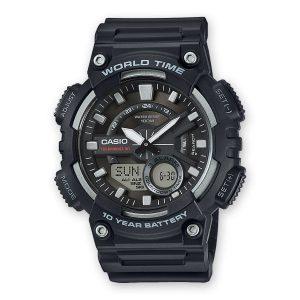 Relógio Casio Anadigi Preto/Prateado AEQ-110W-1AVEF