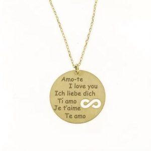 """Colar Dourado """"Amo-te"""" Várias Línguas Símbolo Infinito Corrente A015974"""