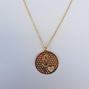 """Colar Dourado """"Mãe"""" Medalha Red Rosa Laser Corrente COM4289"""