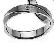 Aliança White Diamonds 1 Diamante 2 Linhas Diagonais Paralelas DAL003B