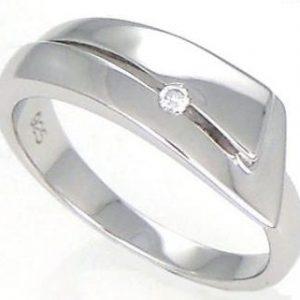 Anel White Diamonds 1 Diamante Fita DR318C