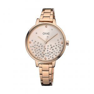 Relógio One Bright Todo Rosé Zirconias Mostrador OL0450RR92W