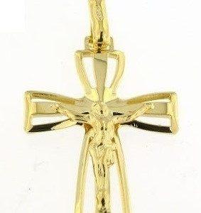 Cruz Dourada Com Cristo Aberta Pontas Alargadas A092044/D