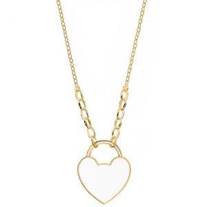 Colar Eugénio Campos Dourado Coração Branco 106.A623.D.2.00