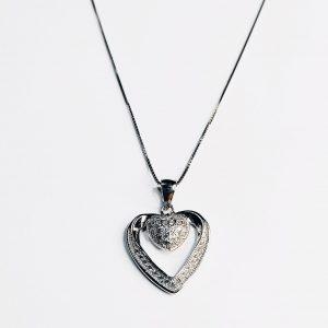 Colar Zirconias 2 Corações Grande Aberto Pequeno Crivado 5450880207