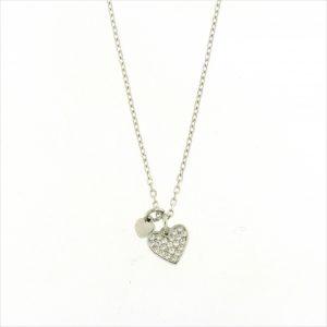 Colar Zirconias Coração Crivado 1 Polido Pequeno A017042