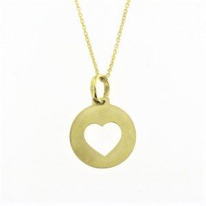 Colar Dourado Coração Transfurado Acetinado Corrente A017196/D