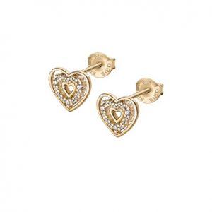 Brincos Lotus Dourado 3 Corações Degradé Interior Zirc Meio LP3143-4/2