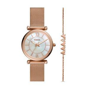 Set Fossil Relógio e Pulseira Carlie Rose Gold ES5058SET