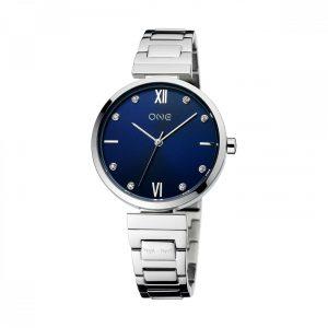 Relógio One Shine Bright By Helena Coelho Prateado M. Azul OL9060AS11L