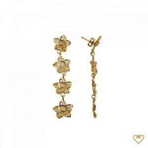 Brincos Filigrana Dourado Saudade 4 Flores Zirconias 1B7-FL0434
