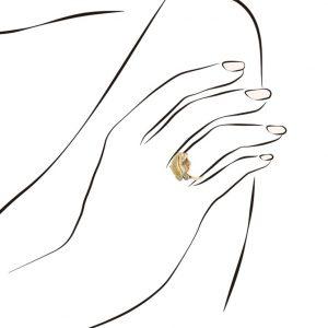 Anel Eugénio Campos Dourado Seway Concha Zirconias Azuis 110.A391.D.4.14