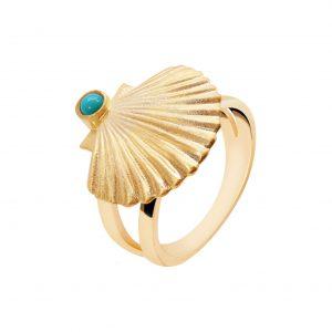 Anel Eugénio Campos Dourado Sea Shell Concha Turquesa 110.A402.D.K.12