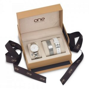 Box One Energy 3 Pulseiras Bicolor/Mesh/Silicone Branco OL8888IC11L