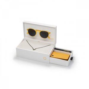 """Box One Sunglasses Powerful """"V"""" Aço Negro Óculos Amarelos OSBHS4552APC321H"""