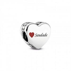 """Encaixe Pandora """"Saudade"""" Coração Esmalte 792015_E028"""